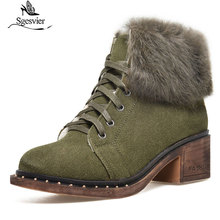 Sgesvier Size 32-43 Women Suede Leather Ankle Boots Female Cross Tied Shoes Lady Winter Snow Boot Woman Thick Heels Shoes G634 стоимость