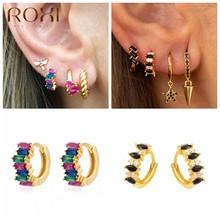 ROXI – boucles d'oreilles à cristaux carrés colorés, pour femmes, filles, yeux de cheval, Zircon en argent Sterling 925, boucles d'oreilles Cartilage Pendientes