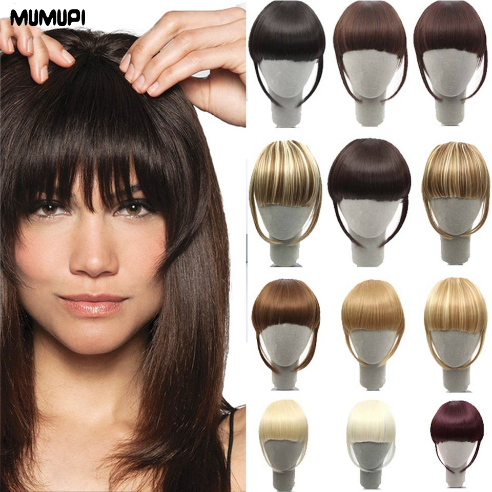 MUMUP Women Fake Synthetic Hair Bangs Extensions False Fringe Clip On Fringe Hair Claws Brown Blonde Fashion Hair Extensions