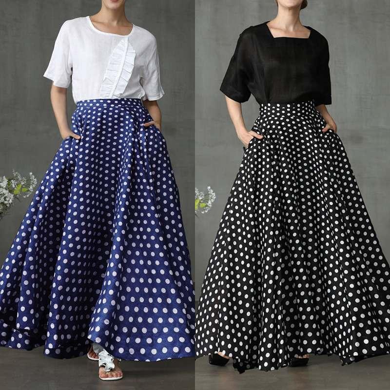 2020 Fashion ZANZEA Women Bohemian Skirt Long Maxi Skirts Vintage Polka Dot Print Faldas Back Zipper Up Pockets Jupe Plus Size