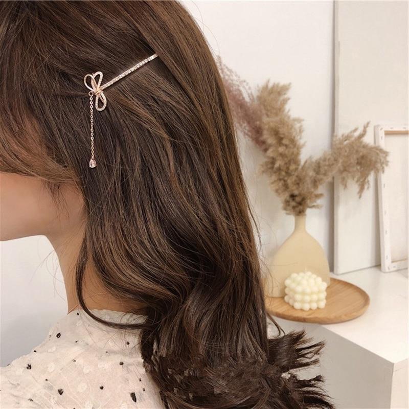 HZ 2019 Korea New Bow Tassel Simple Rhinestone Shining Sweet Fairy Hair Clip Hair Accessories For Women Hair Grip Girls Holiday