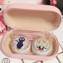 Anime Sailor Moon Pink Contact Lens Case Tweezer Set Box Holder Container for Women Girls Cute Crystal Boxes Cosplay Prop Gift(China)