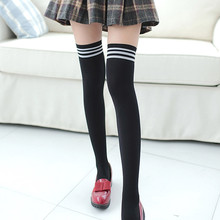 Women Knee High Socks Sexy Thigh High Over The Knee Socks  Long Cotton Stockings For Girls Warm Long Striped Socks 2020 New mens cotton socks over knee high quality male formal dress suit socks winter warm sexy gentlemen hoses thigh stockings