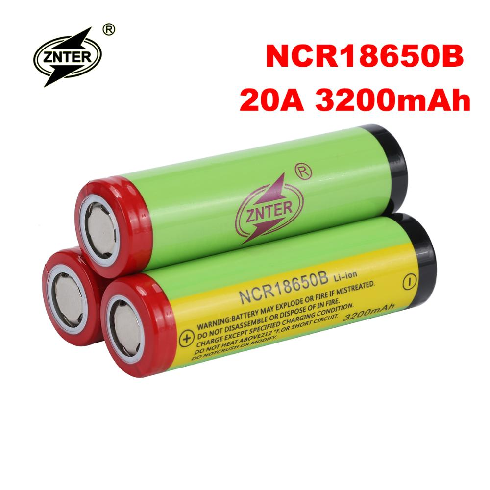 100% Original Znter 3.7V 18650 Battery 3200mAh NCR18650B Lithium 18650 Rechargeable Battery for Flashlight Batteries Drop ship