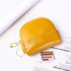 Bolsa de mano de cuero de primera capa, monedero multifuncional para mujer, bolsa de almacenamiento de llaves con cremallera creativa