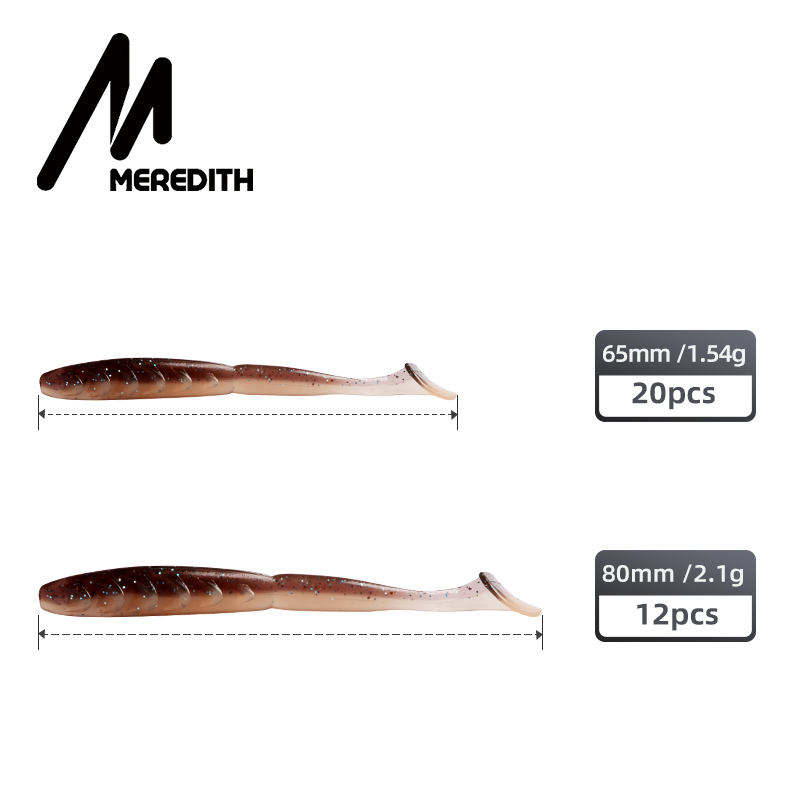 MEREDITH Crazy Shiner II Soft Lure 65mm 80mm Fishing Lure Shad Silicone Baits T-tail Wobblers Swimbait Artificial leurre souple-4