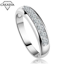 925 Silver Classic Couple Single Row Diamond Ring for Women Engagement Wedding Gift Jewelry