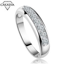 925 Silver Classic Couple Single Row Diamond Ring for Women Engagement Wedding Gift Jewelry(China)