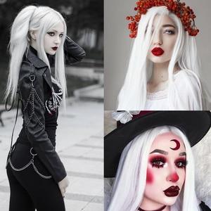 Image 4 - FAVE Bianco Nero Colorful Dritto Resistente Al Calore Parrucche Sintetiche di Gioco del Costume Per Il Nero Bianco Delle Donne di Halloween Festa Di Natale
