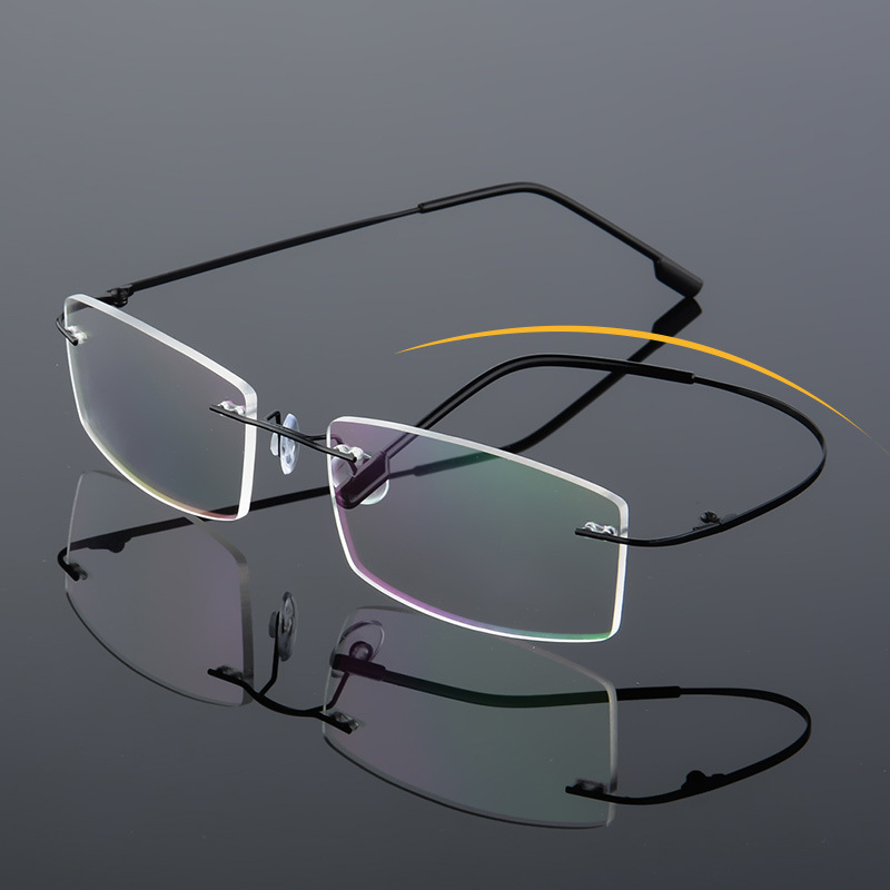 55-18-138 Foldable Ultra-light Memory Titanium Flexible Rimless Eyeglass Frames Light Rx Able Myopia Men Women Glasses