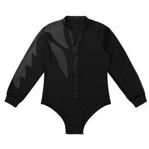Image 4 - 男性 V ネック光沢のあるラインストーン長袖社交ダンスの摩耗ラテンタンゴ大人ルンバダンスシャツレオタードスーツシャツトップス