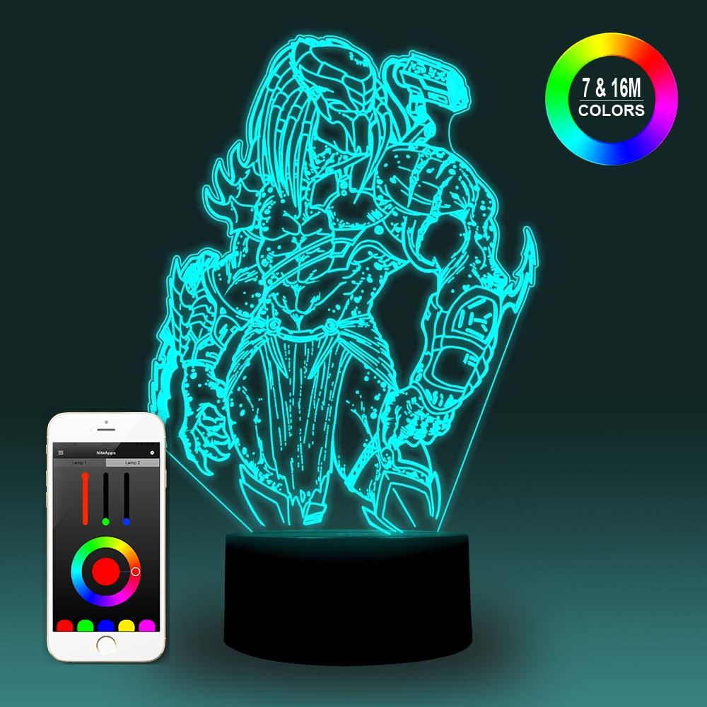 NiteApps 3D Standing Predator Night Light Desk Table Illusion Decoration Lamp Holiday Birthday Gift APP/Touch Control