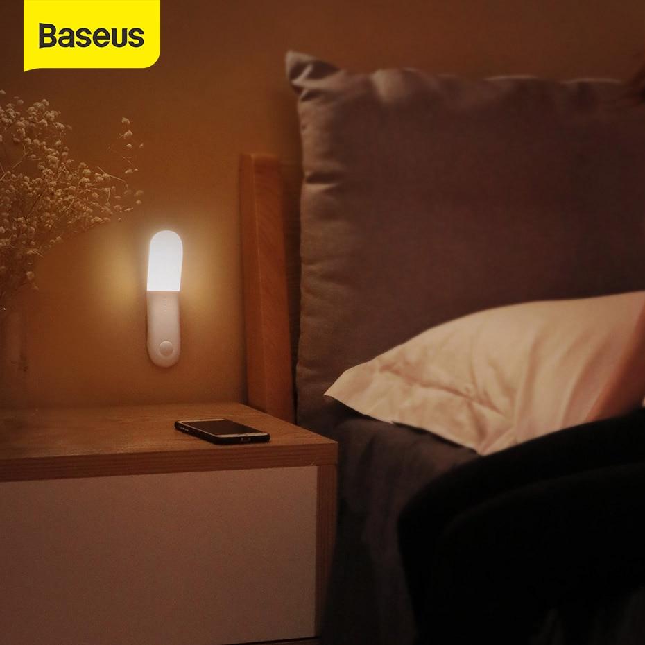 Baseus USB Light Human Body Induction Aisle Light Beadroom Night Lamp LED Light Protect At Night USB Charging Rechargeable Light