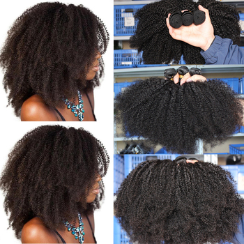 Mongolian Afro Kinky Curly Hair Bundles With Closure 100% Human 4B 4C Natural Black Weave Extensions 3 Remy - discount item  38% OFF Human Hair (For Black)