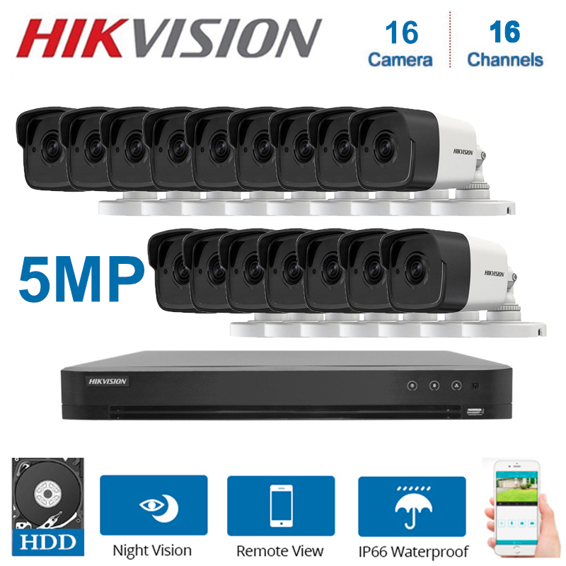 Hik 16 Kanalen Dvr Kit Hybrid Video Surveillance Recorder DS-7216HUHI-K2 Met 5MP Bullet Security Camera DS-2CE16H0T-ITF Kits