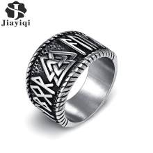 Jiayiqi Titanium Steel Nordic Viking Runes Ring Odin 'S Symbol Ring For Men Women Vintage Gothic Punk Amulet Male Jewelry Gifts(China)