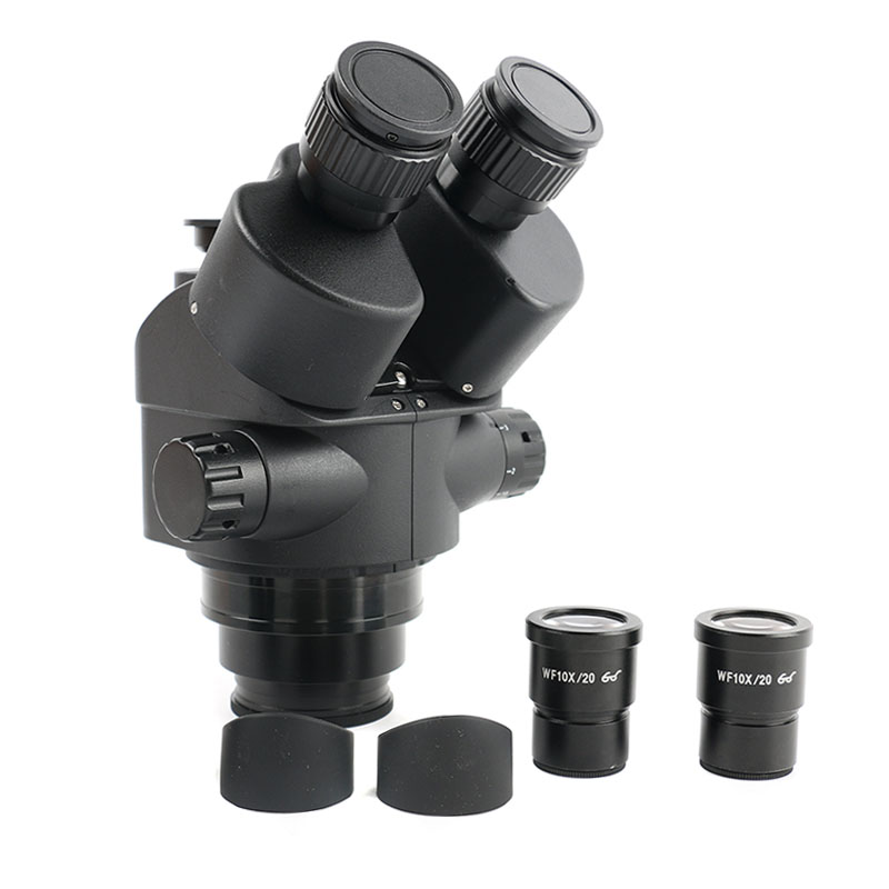 2019 New 7X-45X Zoom Simul-Focal Trinocular Microscopio Stereo Microscope Head+Pair WF10X/20 Eyepiece Lens