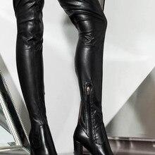 Новые модные женские пикантные Сапоги выше колена на не сужающемся книзу массивном каблуке; женские осенние пикантные туфли на высоком массивном каблуке; женские вечерние туфли-лодочки для клуба