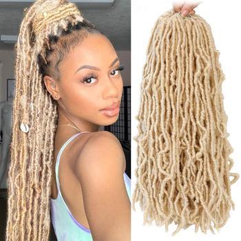 Piękna bogini Faux Locs Culry Braid szydełkowe włosy miękkie naturalne włosy syntetyczne do warkoczy rozszerzenie