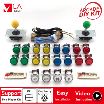 2 player arcade diy zero delay encoder to PC Rasberry Pi arcade diy kit arcade buttons led 8 way joystick for mame jamma project one player arcade game diy parts kit usb encoder pc joystick retro game diy kit for raspberry pi 3 retropie