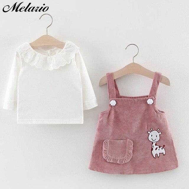 Melario Baby Girl Dress Autumn Baby Girl Princess Clothes Cute Girls Long Sleeve T-shirt Tops Cartoon Giraffe Dress 2pcs Suit 1
