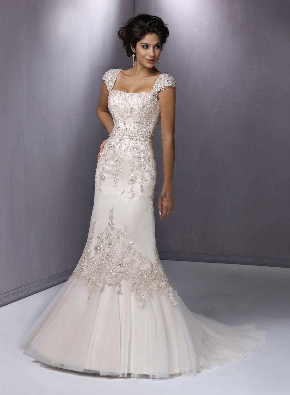 Vestido De Novia Custom Cap Sleeve A-Line Lace Appliques Vestidos De Casamento Bridal Gown 2018 Mother Of The Bride Dresses