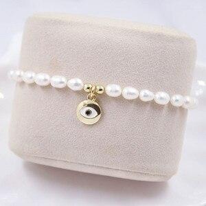 """Натуральный жемчуг Турецкий Дурной глаз браслет женское классическое сердечко """"/ручной/кольцо с перекрестным плетением в стиле барокко пресноводный жемчуг Шарм браслет, ювелирное изделие, подарок"""