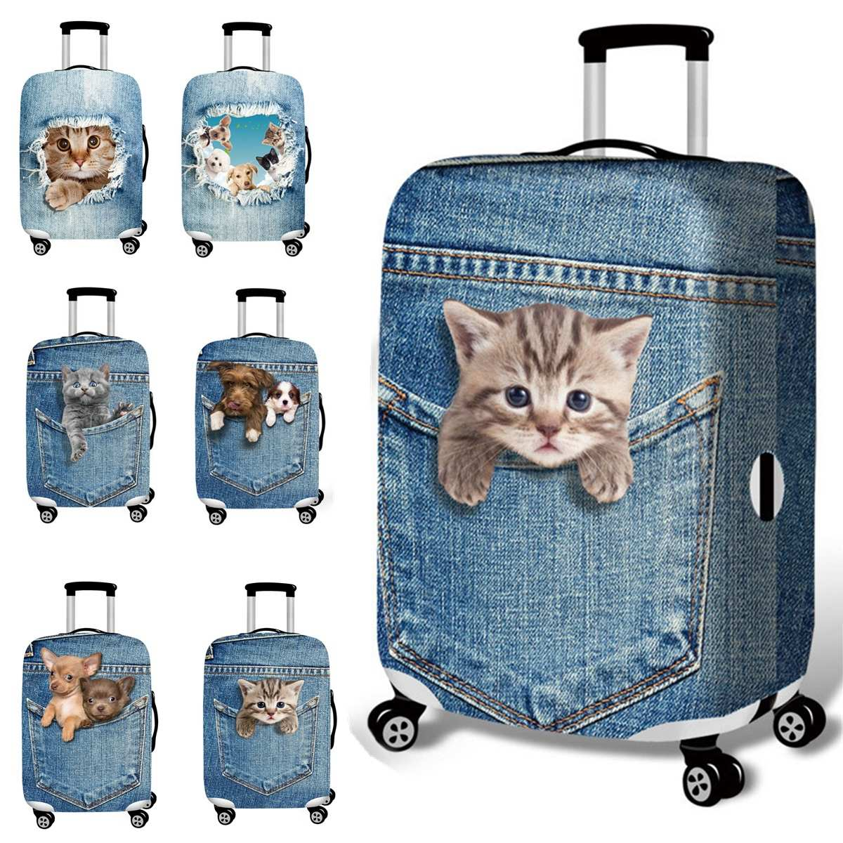 3D Cute Cat Dog Elastic Luggage Cover Trolley Case Cover Travel Luggage Dust Cover Suitcase Protector Trolley Case Accessories
