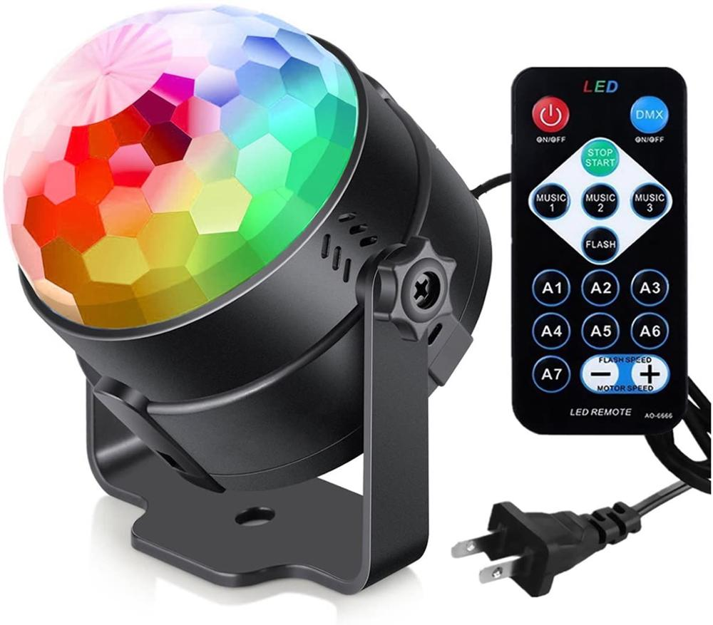 Party Lights Disco Ball Strobe Light Disco Lights (USB Charged), 7 Colors Sound Activated Stage Light with Remote Control Dj Lig