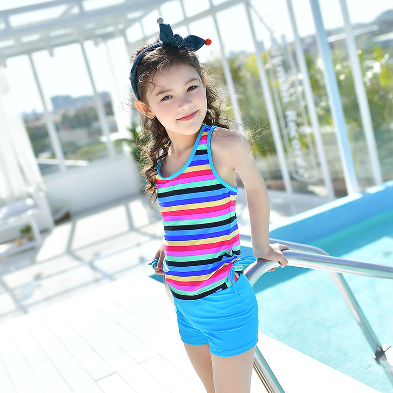 18 New Style Hot Sales Two-piece Swimsuits Stripes Sporty Hipster Xue Sheng Kuan Boxer Children Girls KID'S Swimwear