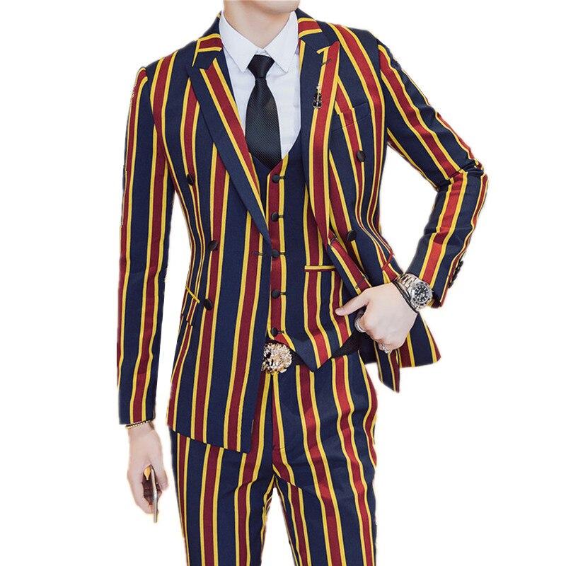Suit + Jacket + Pants 3 Pieces Sets / Fashion Men Business Dress Suits Vertical Stripes Blazers Jacket Coat Trousers Waistcoat