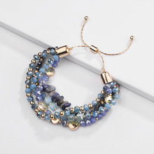 New lucky bracelet Christmas gift best crystal glass beads alloy natural stone womens adjustable