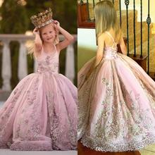 Luxurious Lace Pearls Flower Girl Dresses Ball Gown Sapghetti Little Girl Wedding Dresses Vintage Communion Pageant Dresses Gown skyyue girl pageant dress appliquie lace flower tulle flower girl s dresses for wedding o neck bow communion gowns 2019 dk2918