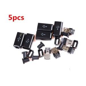 5 шт. DIY 5 Pin Черный мини-usb штекер разъем и пластиковая крышка припоя микро крепление в сборе Замена Соединительный кабель