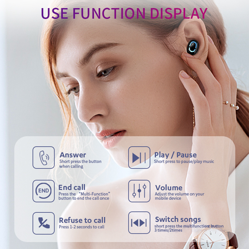 True Bluetooth 5 0 Earphone HBQ TWS Wireless Headphons Sport Handsfree Earbuds 3D Stereo Gaming Headset