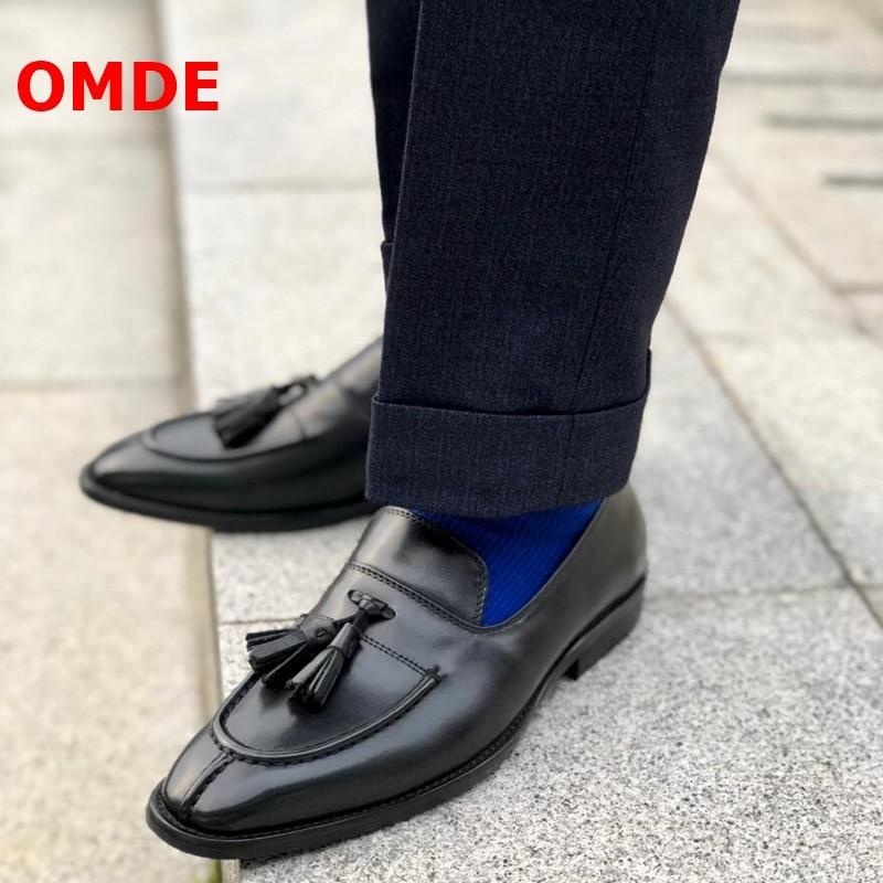 OMDE Slip Op Echt Leer Mannen Schoenen Britse Stijl Retro Kwastje Loafers Handgemaakte Heren Dress Schoenen Business Casual Schoenen - 3