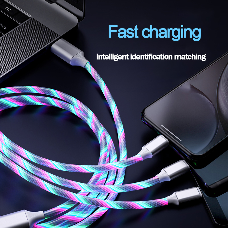 LED Streamer 3 in 1 fast charging Cable Mobile phone Charger Wire Cable Micro USB Type C Lighting For iphone Huawei Xiaomi Cord in Mobile Phone Cables from Cellphones Telecommunications
