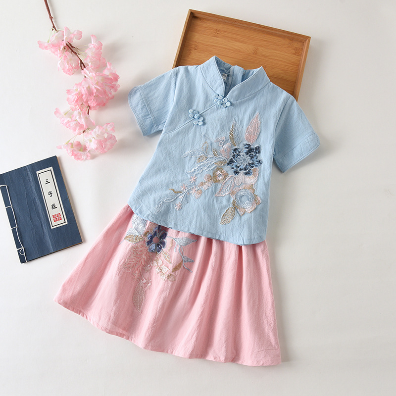 2019 Spring And Autumn New Style Girls Cheongsam Set Chinese-style Ancient Costume Children Two-Piece Set Cheongsam Set Dress