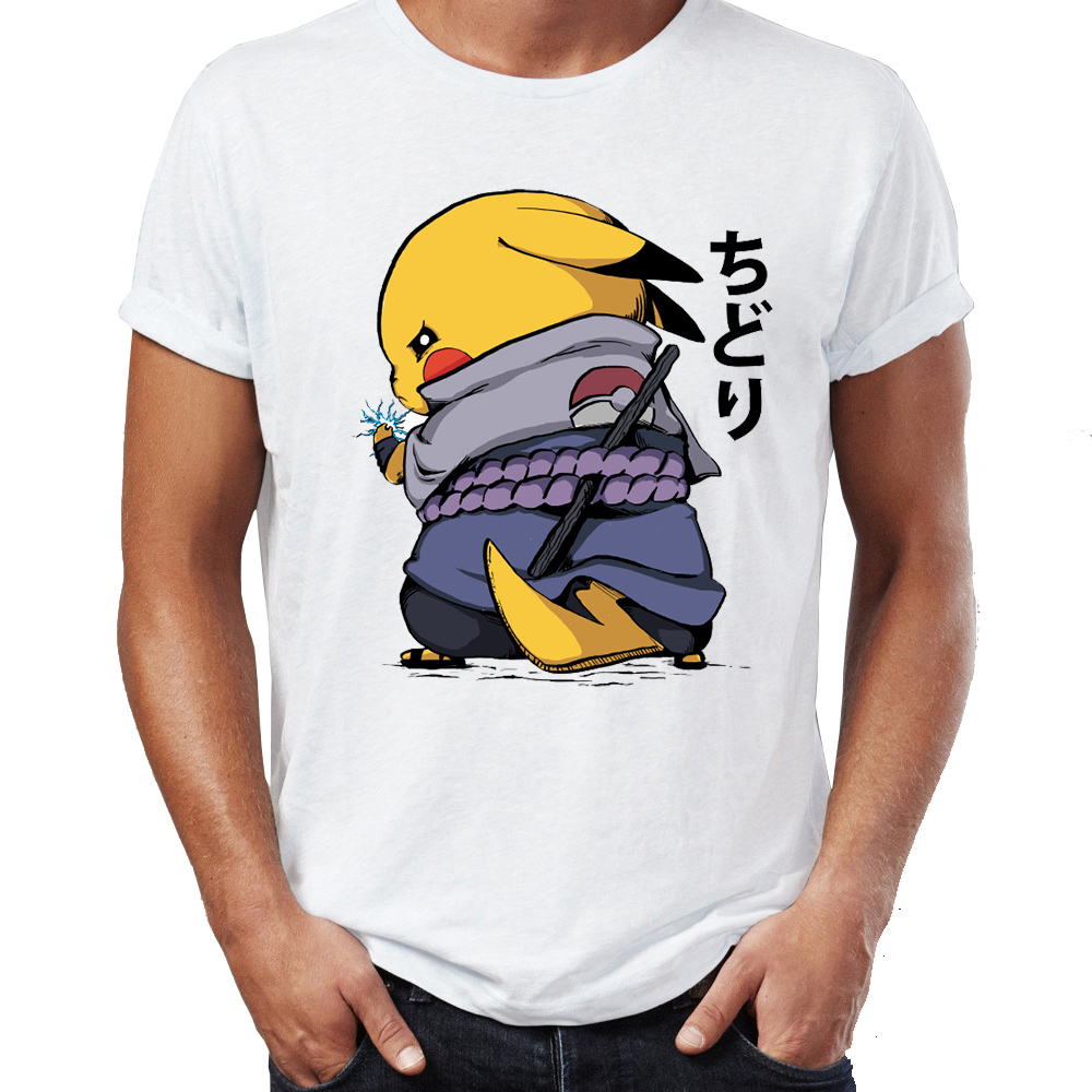 Men's T Shirt Chidori Sasuke Naruto Pikachu Pokemon Awesome Artwork Drawing Printed Tee