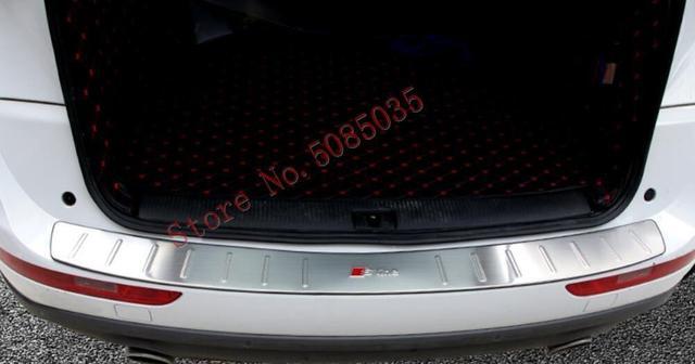 2009 2016 amortecedor traseiro protetor tronco peitoril da porta guarnição de aço inoxidável cromo estilo do carro para audi q5 acessórios
