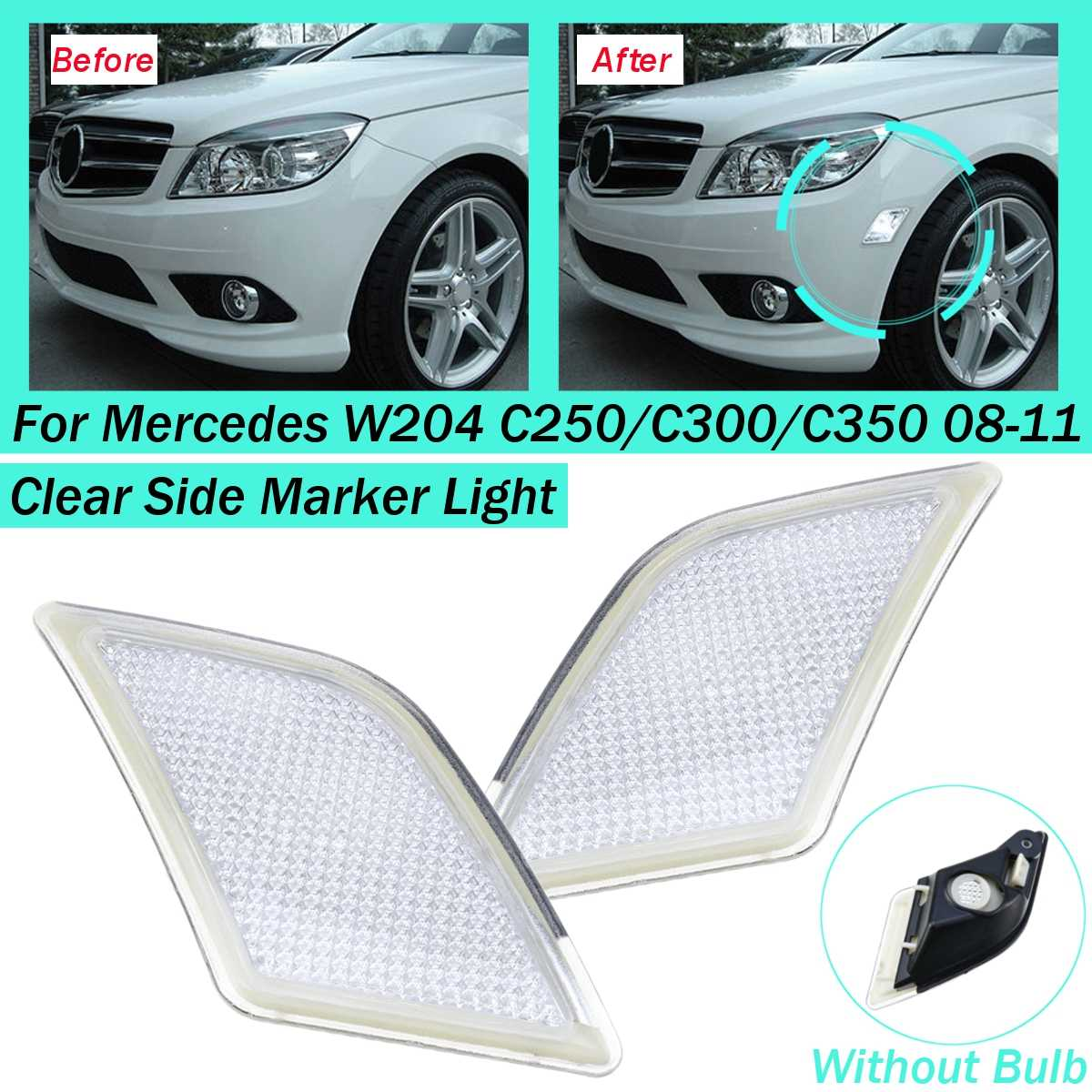 #2048200221 Left Right Pair Front Side Marker Light Lamp For <font><b>Mercedes</b></font> W204 C250/<font><b>C300</b></font>/C350 2008 2009 <font><b>2010</b></font> 2011 without bulb image