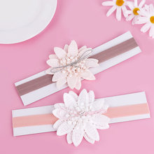 Baby Girls Pink Flower Headband Elastic Ribbon Infant Hairband Birthday Party Hair Accessories gumki do wlosow(China)