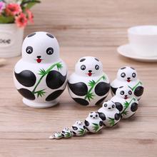 10pcs/Set Basswood Panda Nesting Dolls Handmade Matryoshka Dolls Toys Gift Poupee Russe for Kids Gifts Crafted Doll Home Decor