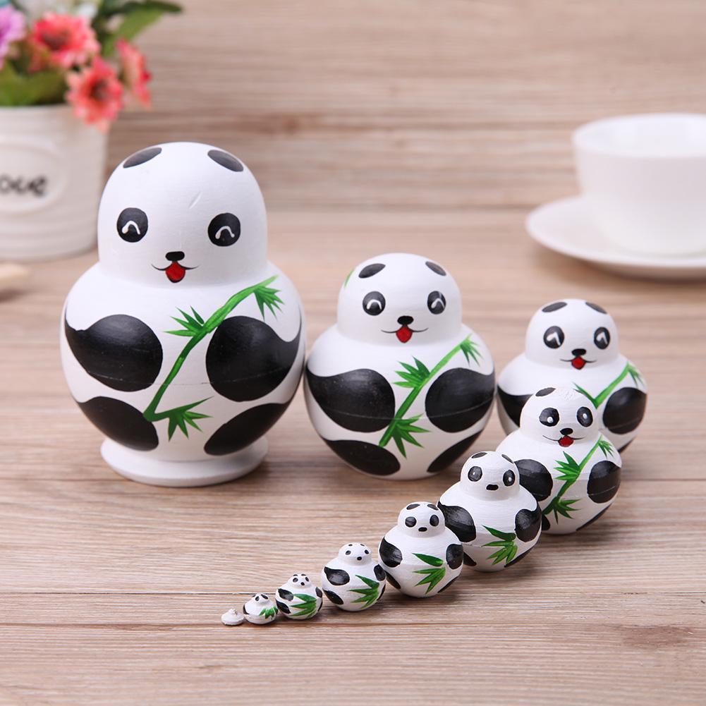 10 teile/satz Linde Panda Nesting Dolls Handgemachte Matryoshka Puppen Spielzeug Geschenk