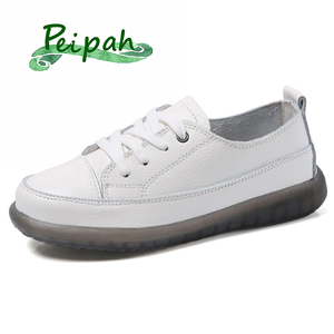 PEIPAH Sport Shoes Women Natural Genuine Leather Flat Casual Shoes Female Ballet Flats Lace Up White Court Sneakers Ladies Flats