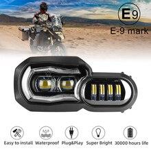 Büyük indirim! E işareti onaylı farlar BMW F650GS F700GS F800GS ADV F800R motosiklet ışıkları komple LED farlar meclisi