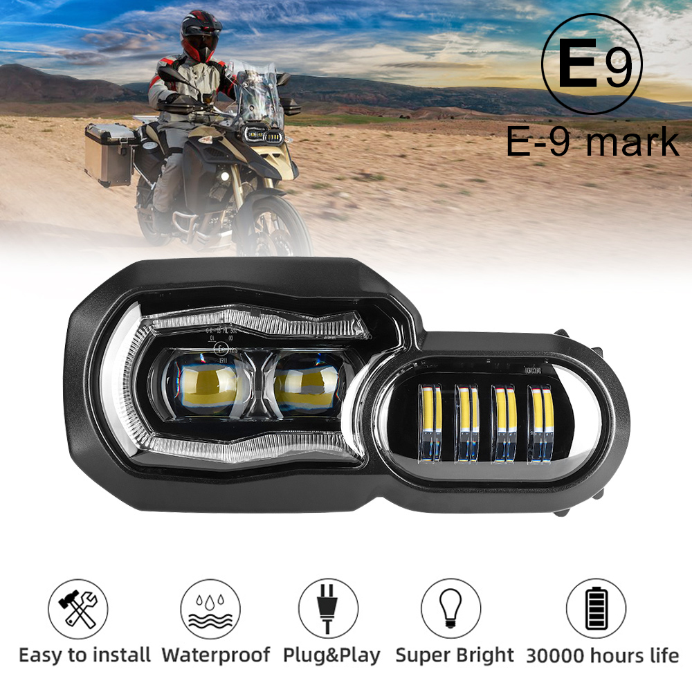 Big Sale  E-mark Approved Headlights for BMW F650GS F700GS F800GS ADV F800R Motorcycle Lights Complete LED Headlights Assembly