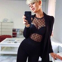 Fashion Mesh Blouse Women's Long Sleeve Polka Dot Crew Neck