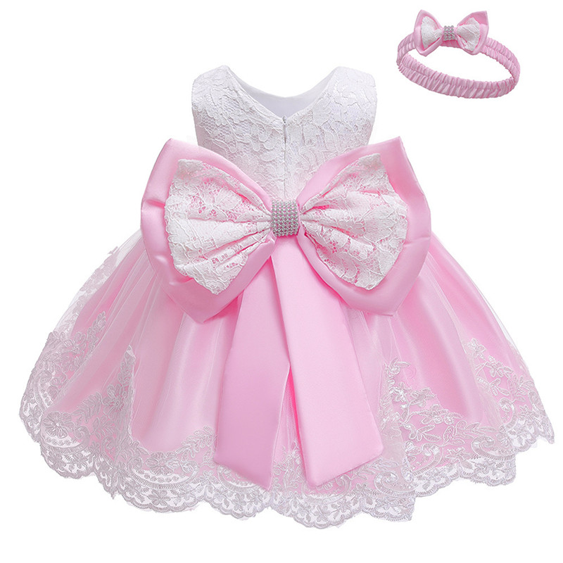 Infant Vestidos Baby Girl Clothes Baby Dress Lace Bowknot Girl Sleeveless Dress For Birthday Party Toddler Costume 3-24 Month