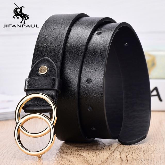 JIFANPAUL Genuine leather Women's alloy double ring buckle fashion adjustable belt retro punk ladies dress jeans student belts 8